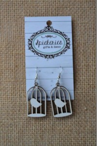White Birdcage Earrings