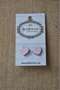 Stud Earrings Pink Lace