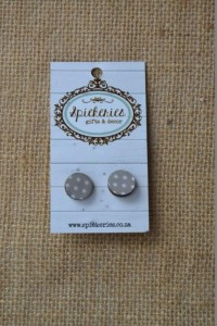 Stud Earrings Grey Dots