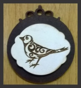 3D Brooch with engraved bird