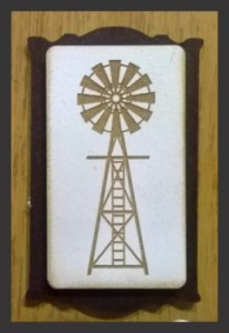 3D Brooch with engraved windmill